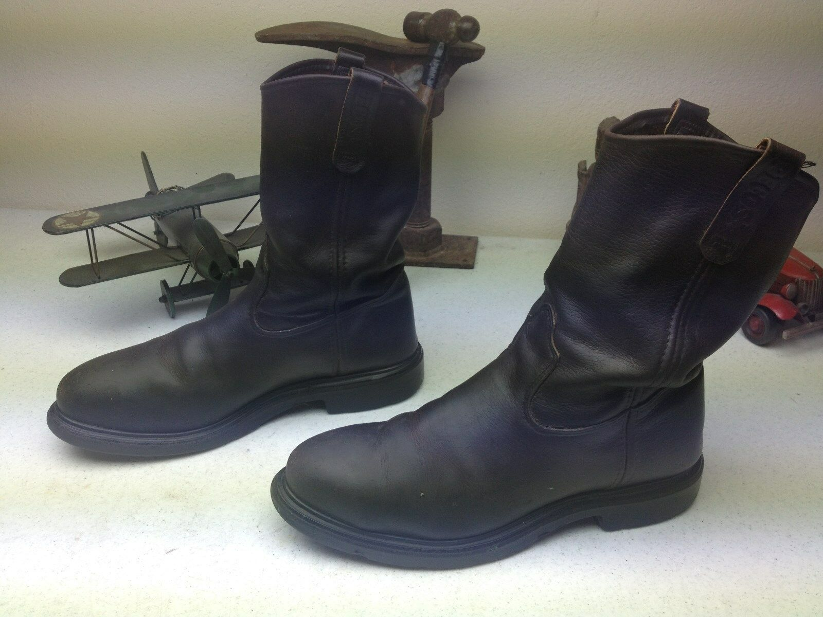braun LEATHER rot WING WING WING PECOS STEEL TOE MOTORCYCLE ENGINEER WORK Stiefel  11.5 B. ccd895