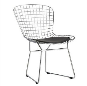 Bertoia-Style-Dining-Side-Chair-Black-Pad-Modern-Cafe-Steel-Wire-Chrome-Mesh