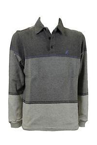 Polo-da-uomo-grigio-Australian-manica-lunga-cotone-colletto-bottoni-casual-moda