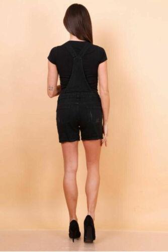 NEW WOMEN/'S LADIES DENIM JEANS DUNGAREE SHORT DRESS JUMPSUIT STRETCH PLAY SUIT