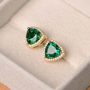 1-10Ct-Trillion-Cut-Emerald-amp-Diamond-14K-Yellow-Gold-Over-Halo-Studs-Earrings