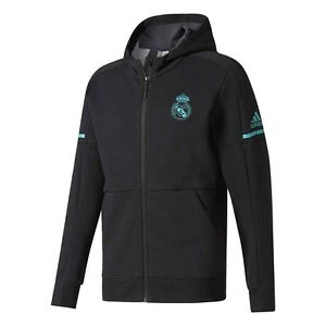 Details about adidas Real Madrid FC 2017 2018 Limited Edt Zone ZNE Hooded Jacket Black Teal