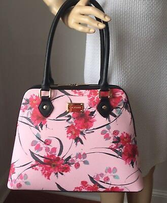NWT St John knit handbag pink & rose floral  shoulder tote leather