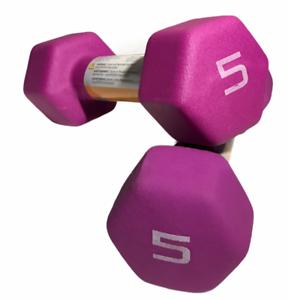 NEW Set of Purple Free Ship 2 CAP Neoprene Dumbbell Weights 5lb Dumbbells