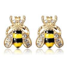 CUTE HONEY BEE EARRINGS Post Stud Pair NEW Yellow Black Enamel Bling Rhinestone