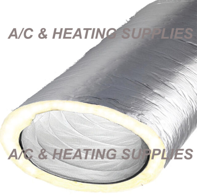 "12/"" x 25/' Insulated Flexible Flex Duct Ducting Silver R8 Inch Heating /& Cooling"