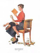 "Norman Rockwell Mother spanking discipline print: ""CHILD PSYCHOLOGY"" 11"" x 15"""