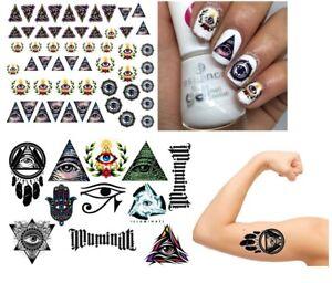 Detalles De Illuminati Colección Arte De Uñas Tatuajes Temporales Tatuaje Ver Título Original