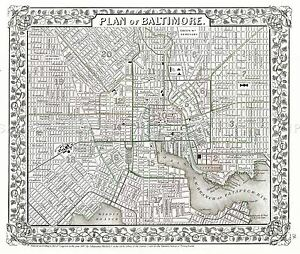 MAP-ANTIQUE-1867-MITCHELL-BALTIMORE-CITY-PLAN-LARGE-REPLICA-POSTER-PRINT-PAM1878