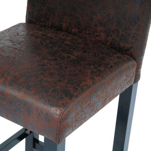 4 x Barhocker Bistrostuhl Holz Polsterstuhl Schwarze Beine Dunkelbraun BH38dbr-4