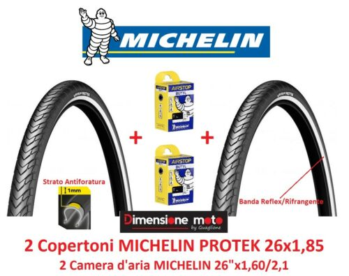 "2 Copertoni MICHELIN PROTEK 26x1,85 Antiforatura Camera per Bici 26/"" Freestyle"
