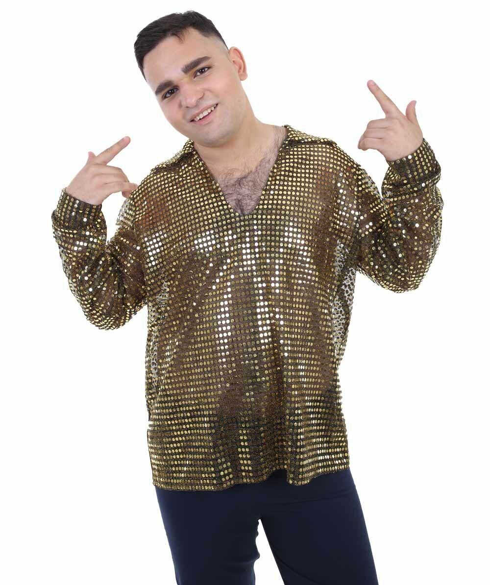 Adult Men's 70's Disco Gold Sequin Shirt Costume   Golden Cosplay Costume HC-966