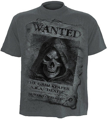 SPIRAL DIRECT WANTED T-Shirt/Biker/Tattoo/Skull/Tribal/Reaper/Vampire/Top/Tee