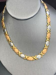 Vintage-X-O-Link-Stainless-Steel-Signed-Gold-Tone-16-Inch-Choker-Necklace
