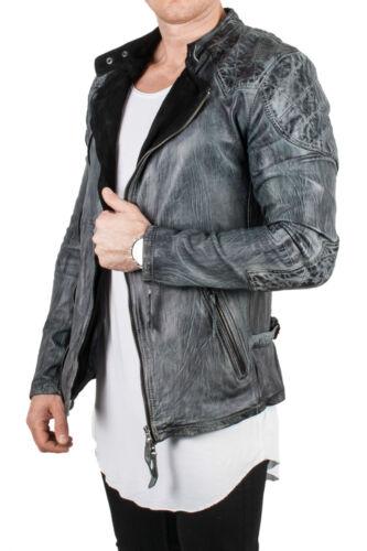 Uomo vera pelle di pecora Giacca di pelle trapunta camouflage LEATHER JACKET VINTAGE BIKER GRIGIO