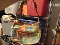 Dooney and Bourke MADRAS PLAID Purse/Tote w/ ANTS Excellent Pre-Owned Condition