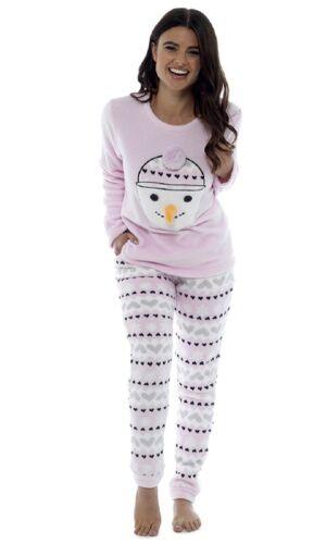 Ladies Snowman Super Soft Full Fleece Winter Pyjama Set Christmas PJ Sleepwear