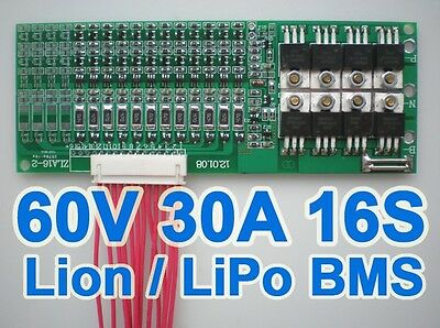16S BMS 35A 60A PCB PCM LiPo Li-ion Balance Protection Board Battery 59.2V 67.2V