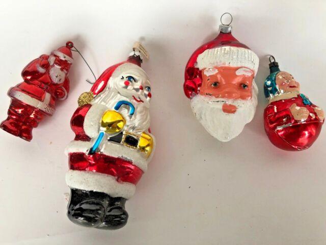 4 Vintage Glass Santa Christmas Tree Ornaments
