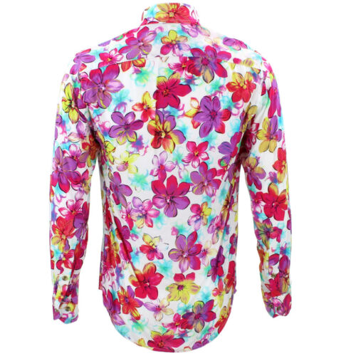 Floral Shirt Psychedelic Purple Tailored Funky Retro Mens Loud Fit Party 78qBPw5T5x