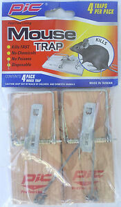 MOUSE TRAP  Metal Tension Spring Kills Fast No Chemicals No Poison 4 Traps/Pack