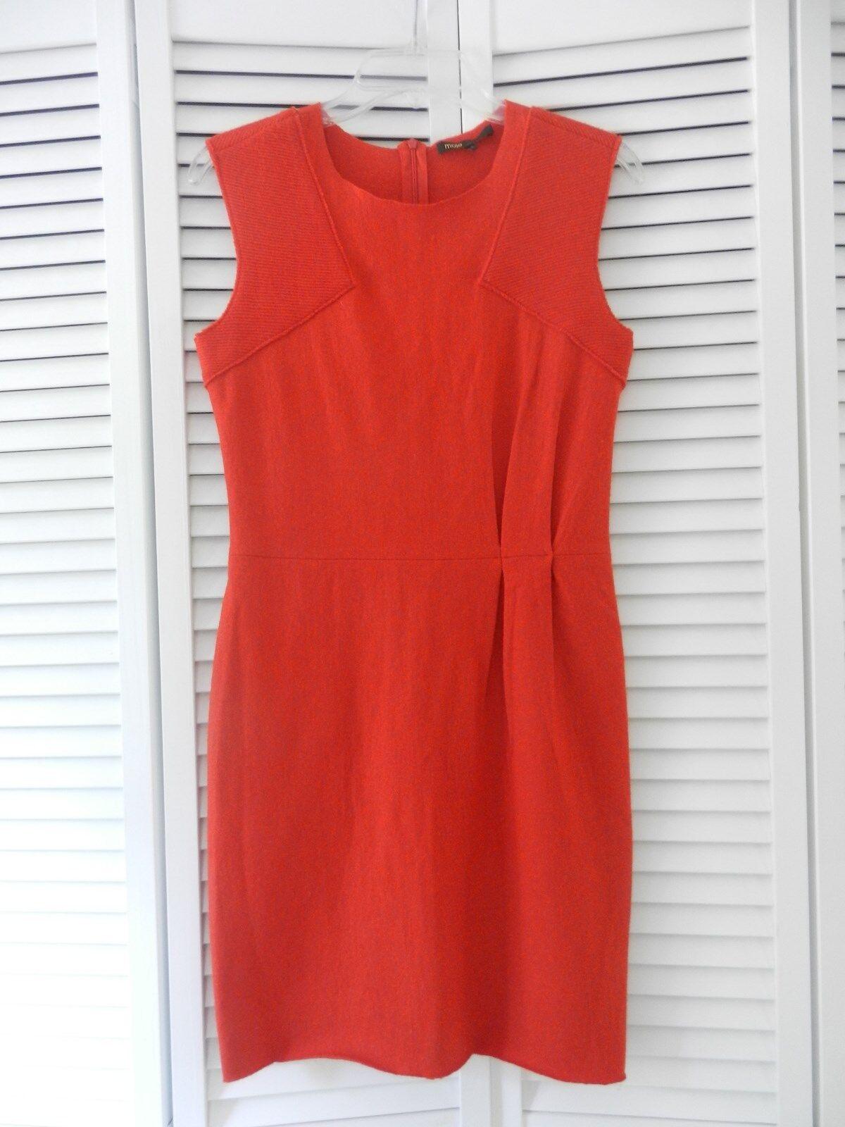 Maje women's Davyna orange sleeveless wool sheath dress, Size  2