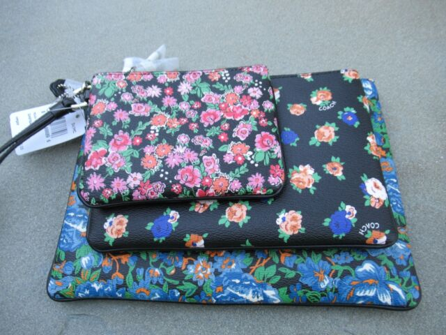 09f3810d0 NWT Coach Floral Coated Canvas Pouch Trio / Multi Colors/ 3 Sizes F57598-  $195