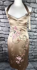 Karen Millen Gold Silk Floral Lily Halterneck Cocktail Wiggle Dress UK 12 US 8