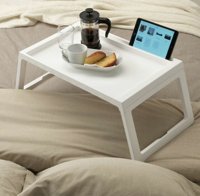 IKEA KLIPSK Breakfast Food Meal Serving Bed Tray Table with iPad Holder - WHITE