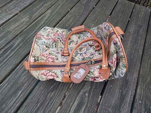 Duffle Tela Internacional Cuero de bolso W floral segunda Tapicería Alas mano v1xPv8