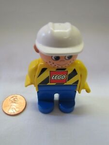 "LEGO DUPLO MAN CONSTRUCTION WORKER in ORANGE VEST /& CAP 2.5/"" FIGURE Rare!"