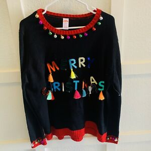 Ugly-Christmas-Sweater-Black-Jingle-Balls-Womens-Plus-Size-2X-20-Colorful