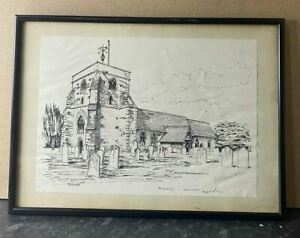Framed Pen & Ink Drawing of ST. Mary's Church, Frensham 197 by D. S. Nicholls