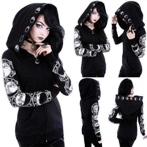 Women Black Gothic Punk Moon Hooded Coat Jacket Hoodie Long Sleeve Sweater Coats
