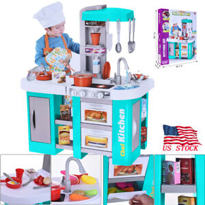 Details about Kitchen Toy Kids Cooking Pretend Play Set Toddler Wooden  Playset Tableware USA