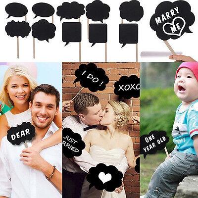 Hot 10x DIY Photo Booth Prop Wedding Birthday Party Black Card Chalkboard Sticks