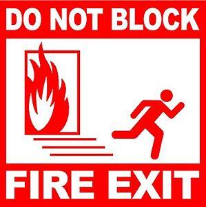 Fire Exit Do Not Block Laminated Adhesive Vinyl Decal Door