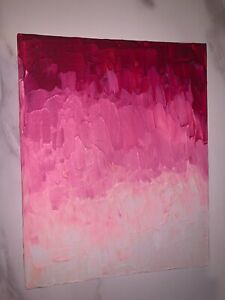 Hand-made-acrylic-painting-abstract-art-textured-pink-white
