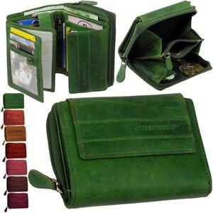 GREENVALLEY-Damen-Geldboerse-Portemonnaie-Brieftasche-Geldbeutel-Geldtasche-Leder