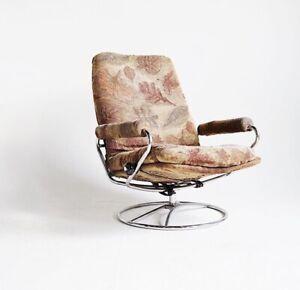 Superb Details About Vintage Midcentury Ekornes Stressless Recliner Chair Swivel Lounge Chrome Office Unemploymentrelief Wooden Chair Designs For Living Room Unemploymentrelieforg