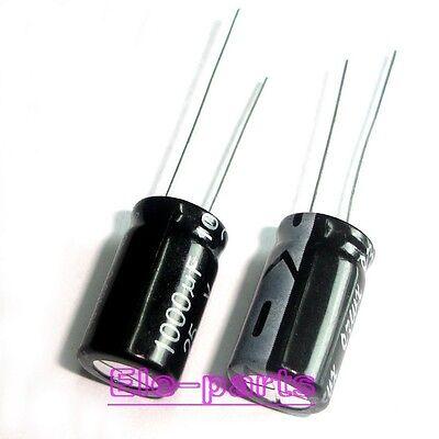 10 PCS 1000UF/25V Radial Electrolytic Capacitors 10x17mm 25V 1000UF 105°C