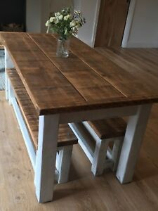 Rustic Farmhouse Table Bench Set