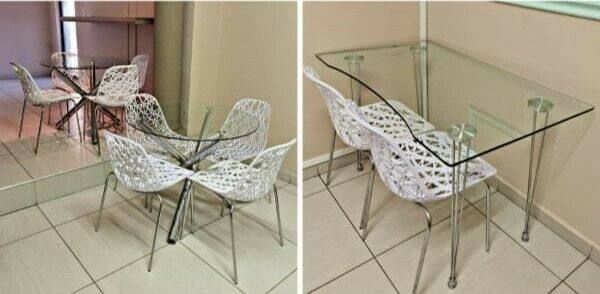 Modern Furniture Chairs and Glass Tabels