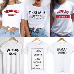 Women-Men-Short-Sleeve-T-shirts-Mermaid-Tee-shirt-Unisex-Tops-Tees-S-M-L-XL-XXL