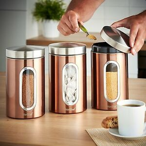 Details About Addis Set Of 3 Copper Tea Coffee Sugar Canisters Jar With Window Stainless Steel