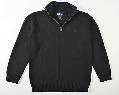 Useful Polo Ralph Lauren Boys 1/2 Zip Sweater Pull Over Black Hong Kong Large Cotton L Superior (In) Quality