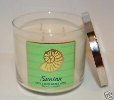 BATH & BODY WORKS SUNTAN SCENTED CANDLE 3 WICK 14.5 OZ LARGE FLOWERS DRIFTWOOD