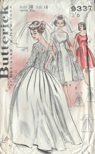 1021 1950s Vintage Sewing Pattern B38 WEDDING /& BRIDESMAID/'S DRESS
