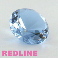 Light Blue Round Delicate Crystal Diamond Shaped Paperweight- 3.25''
