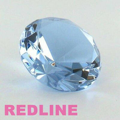 Light Blue Round Delicate Crystal Diamond Shaped Paperweight- 4.00''
